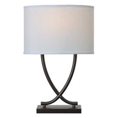 Kenroy Home Valerie 25 in. Graphite Table Lamp with White Shade - Home Depot