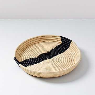 """All Across Africa Tray, Natural and Black, Block Print Woven, 17"""" Diameter - West Elm"""