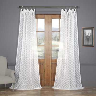 Lewandowski Patterned Linen Sheer 100% Polyester Single Curtain Panel - Birch Lane
