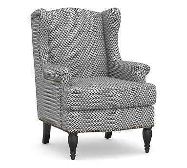 SoMa Delancey Wingback Upholstered Armchair, Polyester Wrapped Cushions, Kendall Print Navy - Pottery Barn