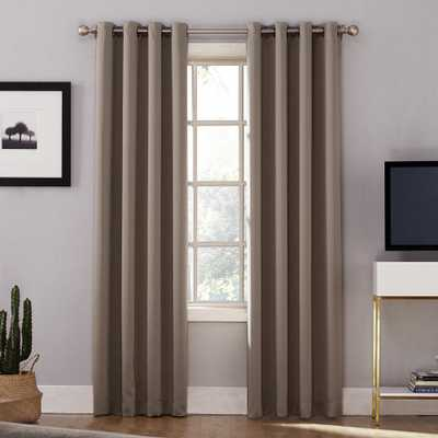 Sun Zero Oslo Woven Home Theater Grade Blackout Mushroom (Brown) Grommet Single Curtain Panel - 52 in. W x 95 in. L - Home Depot