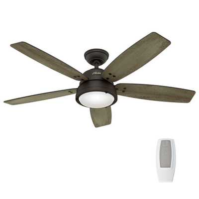 Hunter Channelside 52 in. LED Indoor/Outdoor Noble Bronze Ceiling Fan with Remote Control - Home Depot