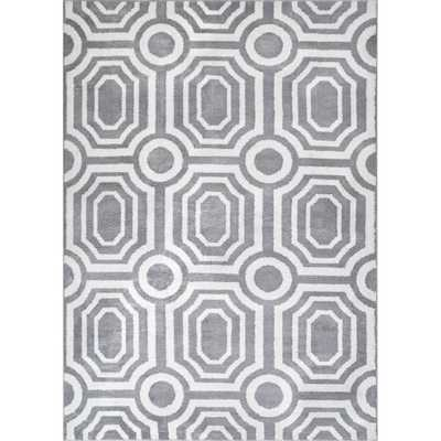 Well Woven Kasper Leos 5 ft. 3 in. x 7 ft. 3 in. Modern Mosaic Tile Work Geometric Grey Area Rug - Home Depot