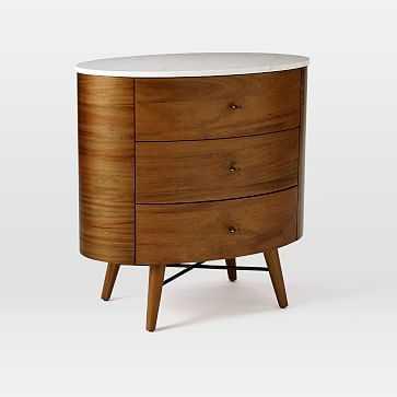 Penelope Nightstand, 3-Dresser, Acorn/Marble - West Elm