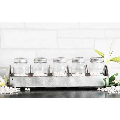 5-Piece Glass Mason Jar on Galvanized Tray, Clear - Home Depot
