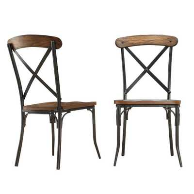 Cabela Distressed Ash Wood and Metal Dining Chair (Set of 2) - Home Depot