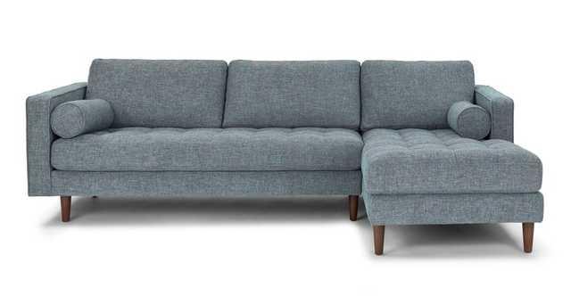 Sven Aqua Tweed Right Sectional Sofa - Article