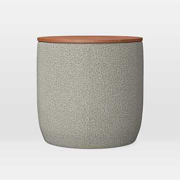 Upholstered Base Ottoman, Small, Twill, Gravel, Concealed Supports - West Elm