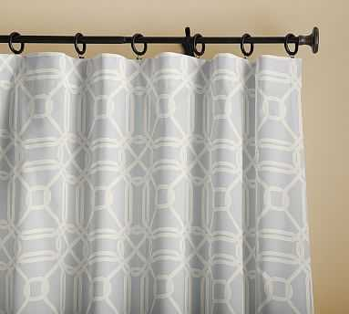 "Dolores Geo Print Drape with Blackout, 50 x 108"", Gray - Pottery Barn"