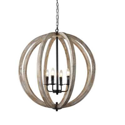 Capoli 4-Light Wooden Orb Neutral Chandelier - Home Depot