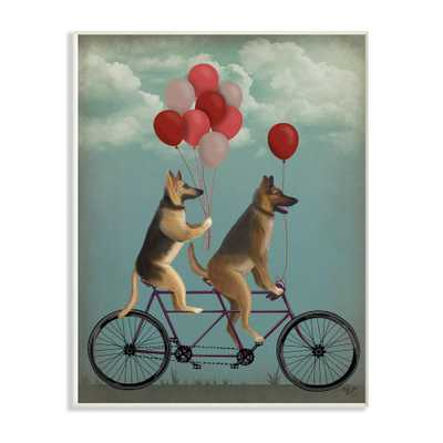 "10 in. x 15 in. ""German Shepard Dogs On Bicycle with Balloons"" by Fab Funky Wood Wall Art, Multi-Colored - Home Depot"