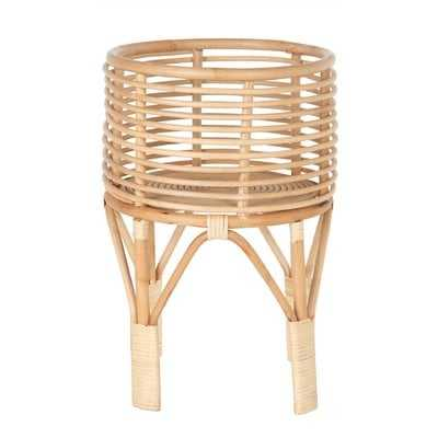 "Fernando 18"" H x 12"" L x 12"" D Rattan Indoor Plant Stand, 10 inches, Natural - Wayfair"