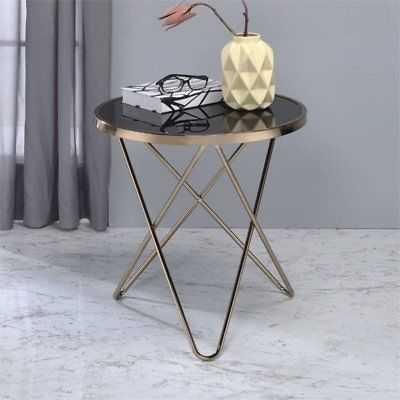 ACME Valora End Table in Black Glass and Champagne - eBay