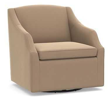 SoMa Emma Upholstered Swivel Armchair, Polyester Wrapped Cushions, Performance Plush Velvet Camel - Pottery Barn