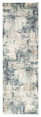 """Sisario Abstract Blue/ Gray Runner Rug (2'8""""X8') - Collective Weavers"""