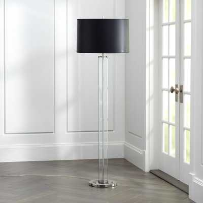 Gleam Crystal/Nickel Black Shade Floor Lamp - Crate and Barrel