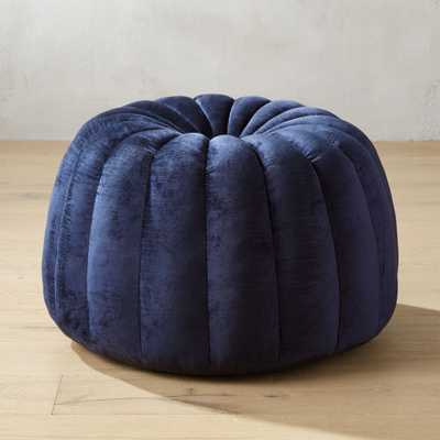 Tufted Navy Blue Velvet Pouf - CB2