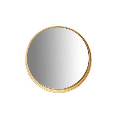 3R Studios Round Gold Accent Wall Mirror with Shelf - Home Depot