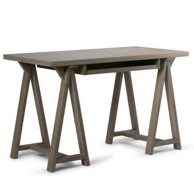 Sawhorse Distressed Grey Desk - Home Depot