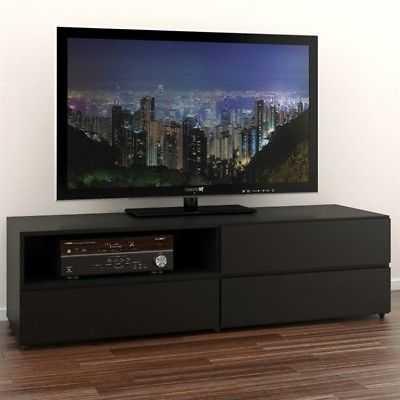 Atlin Designs 60'' TV Stand in Black Lacquer & Melamine - eBay