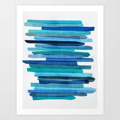 Blue Stripes Art Print - Small by Maboe - Society6