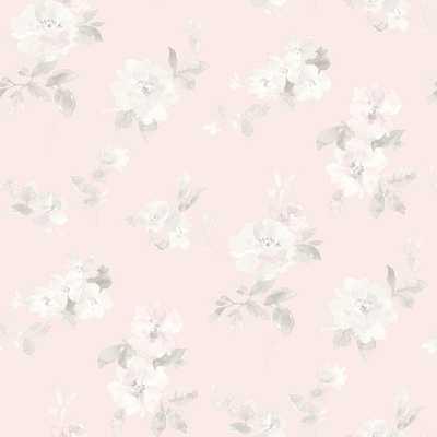 Captiva Light Pink Floral Toss Wallpaper - Home Depot
