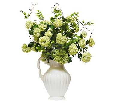 Faux Snowball Hydrangea In Pitcher, Green - Pottery Barn