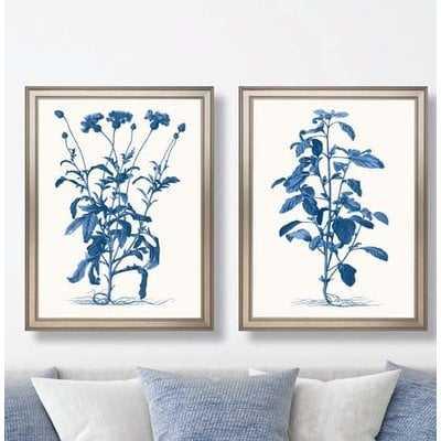 'Fresh Florals in Blue' 2 Piece Framed Graphic Art Print Set - Wayfair