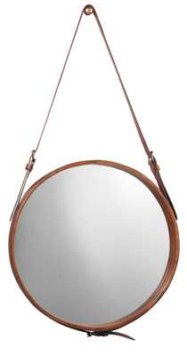 Small Round Mirror in Brown Leather - Jamie Young