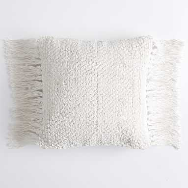 "Lily Ashwell Textured Tassel Pillow Cover, 12""x16"", Ivory - Pottery Barn Teen"