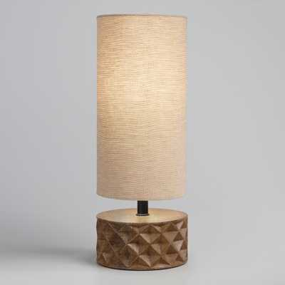 Mid Century Faceted Wood Table Lamp with Linen Shade by World Market - World Market/Cost Plus