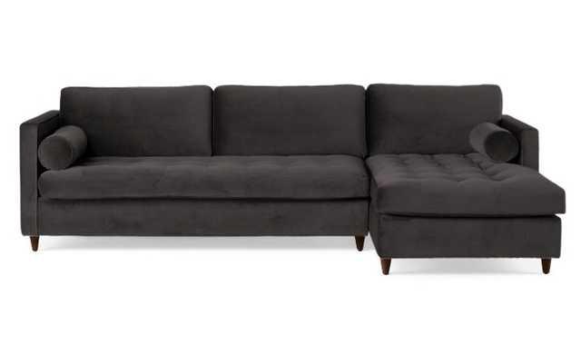Gray Briar Mid Century Modern Sleeper Sectional - Caliber Sealskin - Mocha - Left - Joybird