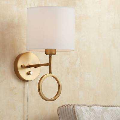 Amidon Warm Brass Drop Ring Plug-In Wall Lamp - eBay