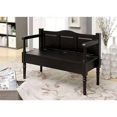Gracie Oaks Usher Wood Storage Bench: Dark Brown - eBay