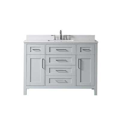 OVE Decors Riverdale 48 in. W x 21 in. D Vanity in Dove Grey with a Marble Vanity Top in White with White Basin - Home Depot