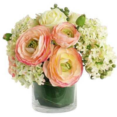 Artificial Silk Mixed Floral Arrangements in Decorative Vase - Birch Lane