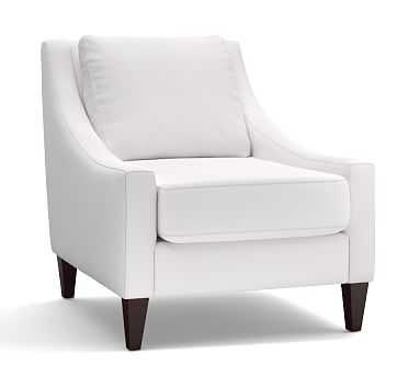 Aiden Upholstered Armchair, Polyester Wrapped Cushions, Twill White - Pottery Barn