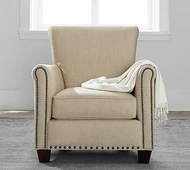 Irving Roll Arm Upholstered Armchair with Bronze Nailheads, Polyester Wrapped Cushions, Performance Heathered Tweed Desert - Pottery Barn