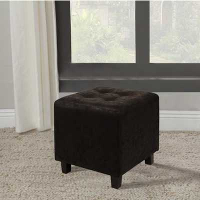 Home Accents Alliance Faux Leather Black Ottoman Stool - Home Depot