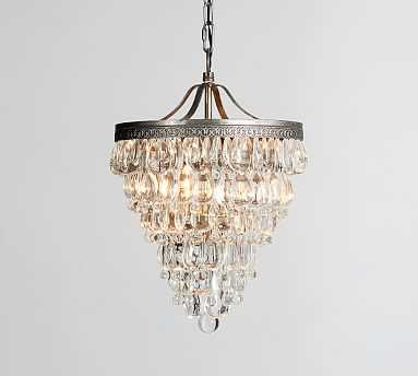 "Clarissa Crystal Drop Small Round Chandelier, Small (13"" Diameter) - Pottery Barn"