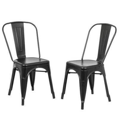 Adeline Black Metal Stacking Dining Chair (Set of 2) - Home Depot
