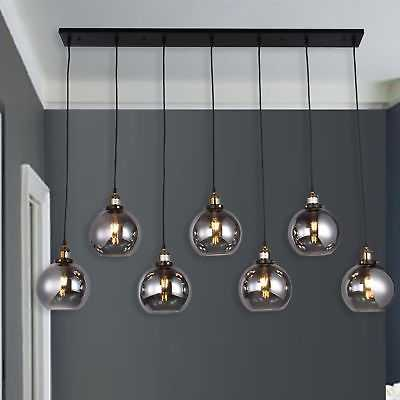 Aira Black and  Bronze Metal 7-Light Linear Chandelier with 8-inch Smoked Glass - eBay