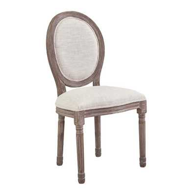 Emanate Vintage Beige French Upholstered Fabric Dining Side Chair - Home Depot