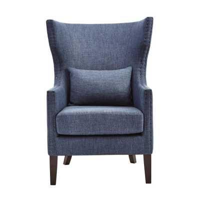 Bentley Capri Blue Linen Upholstered Arm Chair - Home Depot