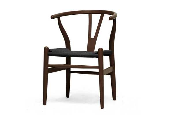 Baxton Studio Mid-Century Modern Wishbone Chair - Brown Wood Y Chair with Black Seat (Set of 2) - Lark Interiors