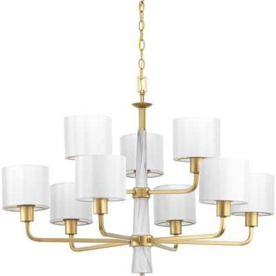 Progress Lighting Palacio Collection 9-Light Vintage Gold Chandelier with Shade - Home Depot