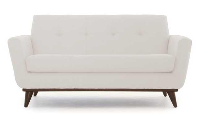 White Hughes Mid Century Modern Apartment Sofa - Merit Snow - Coffee Bean - Joybird