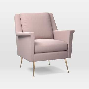 Carlo Mid-Century Chair, Astor Velvet, Dusty Blush, Brass - West Elm