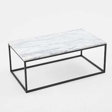 Box Frame Coffee Table, Marble Top, Wide - West Elm