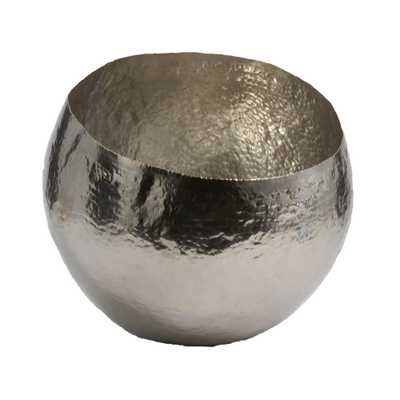 10 in. Hammered Brass Decorative Bowl in Nickel Plate, Silver - Home Depot